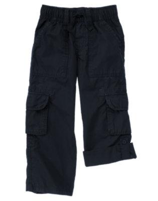 Boys Dark Navy Roll Cuff Cargo Pant by Gymboree