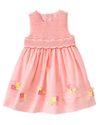 Bunny Pink Smocked Flower Dress by Gymboree