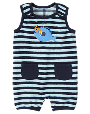 Fish Blue Stripe Stripe Terry Shortie One-Piece by Gymboree