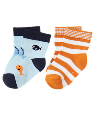 Fish Blue Fish and Stripe Sock Two-Pack by Gymboree
