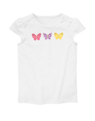 White Butterfly Tee by Gymboree