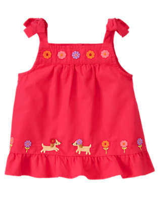 Popsicle Pink Puppy Flower Swing Top by Gymboree