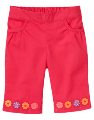 Toddler Girls Popsicle Pink Flower Cuff Capri Pant by Gymboree