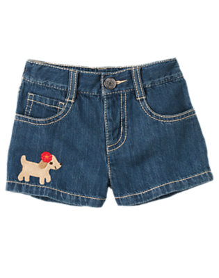 Toddler Girls Denim Flower Puppy Jean Short by Gymboree