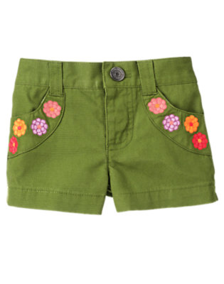 Toddler Girls Meadow Green Flower Pocket Short by Gymboree