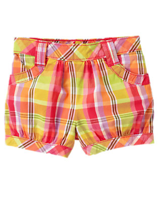 Toddler Girls Zinnia Orange Plaid Plaid Short by Gymboree