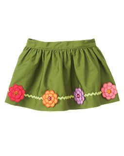 Gem Flower Rickrack Skirt