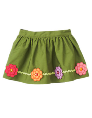 Toddler Girls Meadow Green Gem Flower Rickrack Skirt by Gymboree