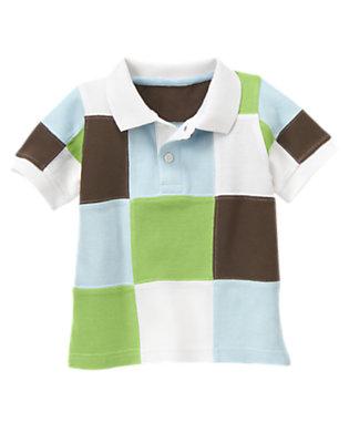 Toddler Boys Sailboat Green Patchwork Pique Polo Shirt by Gymboree