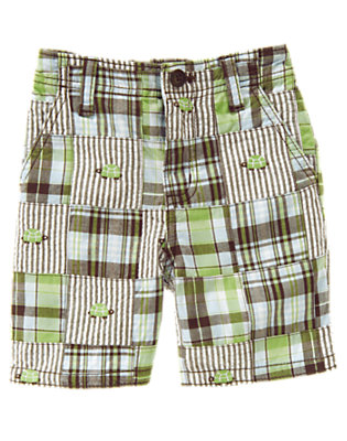 Baby Sailboat Green Patchwork Plaid Patchwork Short by Gymboree