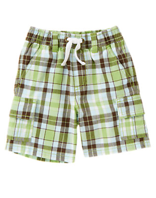 Sailboat Green Plaid Sailboat Green Plaid Cargo Short by Gymboree