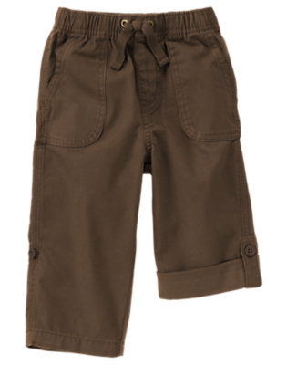 Anchor Brown Roll Cuff Canvas Pant by Gymboree