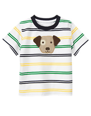 White Stripe Dog Stripe Tee by Gymboree
