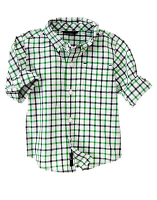 Toddler Boys Grass Green Check Roll Cuff Tattersall Shirt by Gymboree