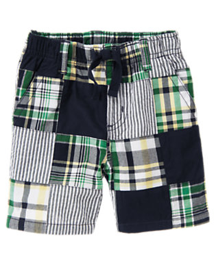 Dark Navy Plaid Plaid Patchwork Short by Gymboree