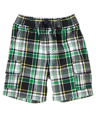 Dark Navy Plaid Pull-On Dark Navy Plaid Cargo Short by Gymboree