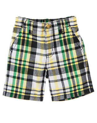 Baby Mustard Yellow Plaid Plaid Short by Gymboree