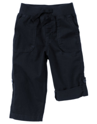 Dark Navy Pull-On Roll Cuff Pant by Gymboree