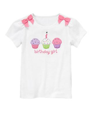 White Birthday Girl Cupcake Tee by Gymboree