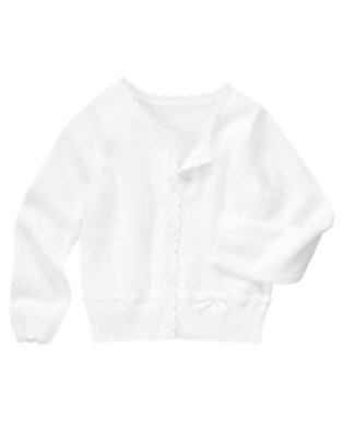Girls White Bow Sweater Cardigan by Gymboree