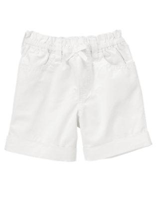 Girls White Bow Cuff Short by Gymboree