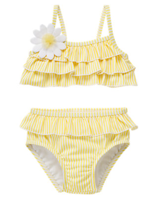 Dandelion Yellow Daisy Stripe Two-Piece Swimsuit by Gymboree