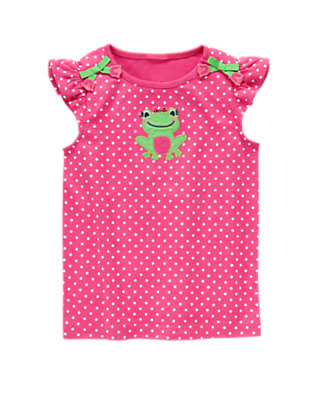 Bright Tulip Pink Dot Frog Sequin Tee by Gymboree