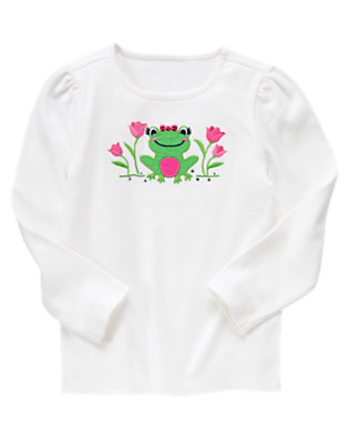 White Frog Gem Long Sleeve Tee by Gymboree