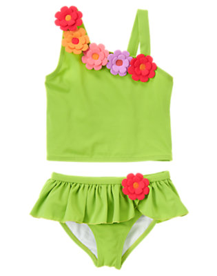 Spring Green Flower One-Shoulder Tankini by Gymboree
