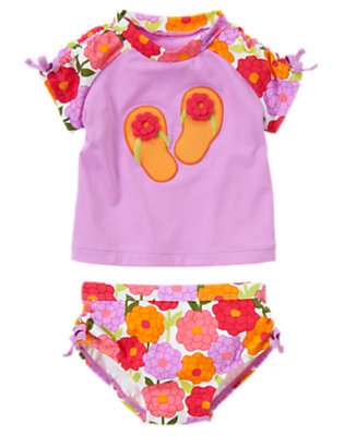 Lilac Flower Flip Flop Rash Guard Two-Piece Swimsuit by Gymboree