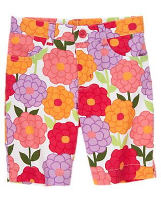 Girls Zinnia Orange Blossom Floral Bermuda Short by Gymboree