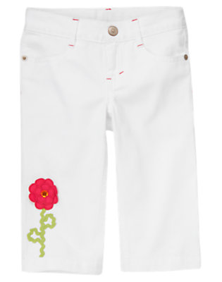 White Flower White Capri Jean by Gymboree