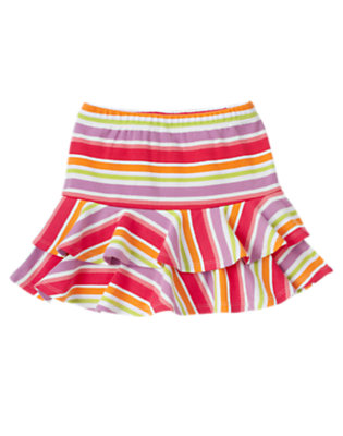 Girls Popsicle Pink Stripe Stripe Ruffle Skort by Gymboree