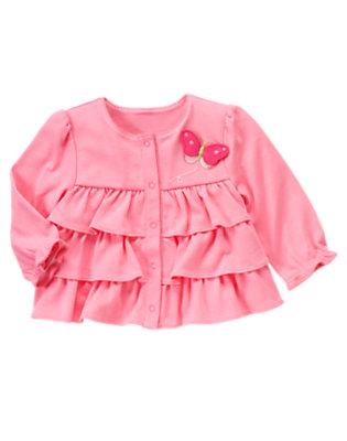 Baby Pink Posy Butterfly Tiered Cardigan by Gymboree