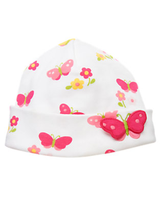 White Butterfly Butterfly Beanie by Gymboree