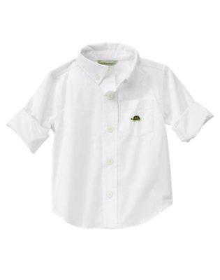 Toddler Boys White Turtle Pocket Dress Shirt by Gymboree