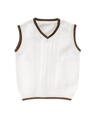 White Tipped Sweater Vest by Gymboree