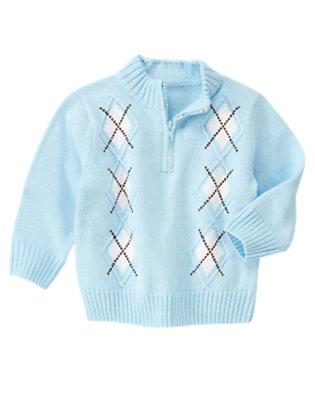 Whale Blue Half Zip Argyle Sweater by Gymboree