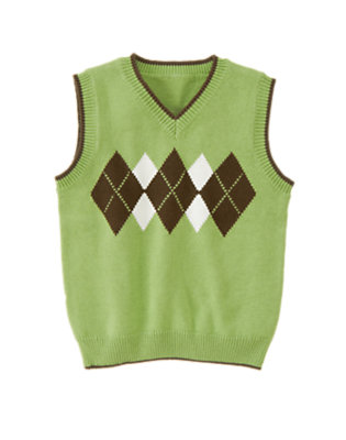Sailboat Green Tipped Argyle Sweater Vest by Gymboree