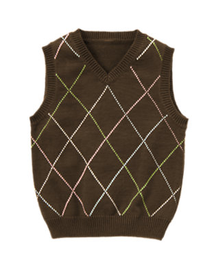 Boys Anchor Brown Diamond Sweater Vest by Gymboree