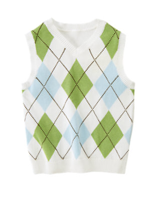 White Argyle Sweater Vest by Gymboree