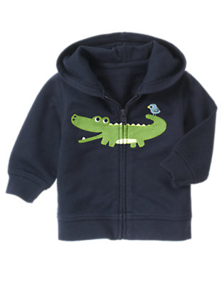 Baby Spring Navy Alligator Hoodie by Gymboree