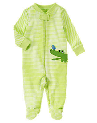 Baby Gator Green Alligator Footed One-Piece by Gymboree