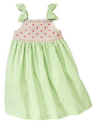 Green Hydrangea Gingham Smocked Gingham Dress by Gymboree