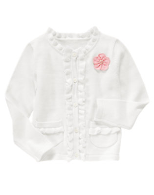 Girls White Flower Ruffle Cardigan Sweater by Gymboree
