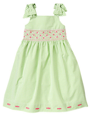 Girls Green Hydrangea Gingham Smocked Gingham Dress by Gymboree