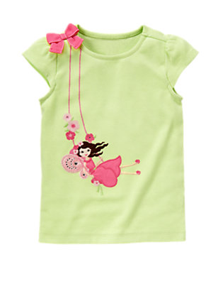 Green Hydrangea Fairy Gem Bow Tee by Gymboree