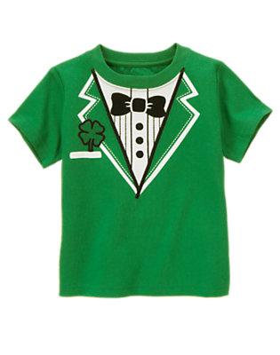 Shamrock Green Clover Tuxedo Tee by Gymboree
