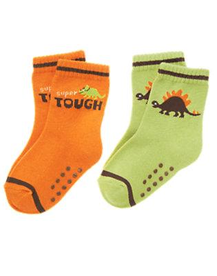 Toddler Boys Volcano Orange Dinosaur Sock Two-Pack by Gymboree