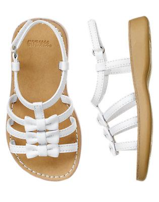 White Strappy Bow Sandal by Gymboree